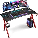 Foxemart Gaming Desk 55 inch PC Computer Desk, Home Office Desk Workstation, Professional Gaming Desk Table with Cup Holder &