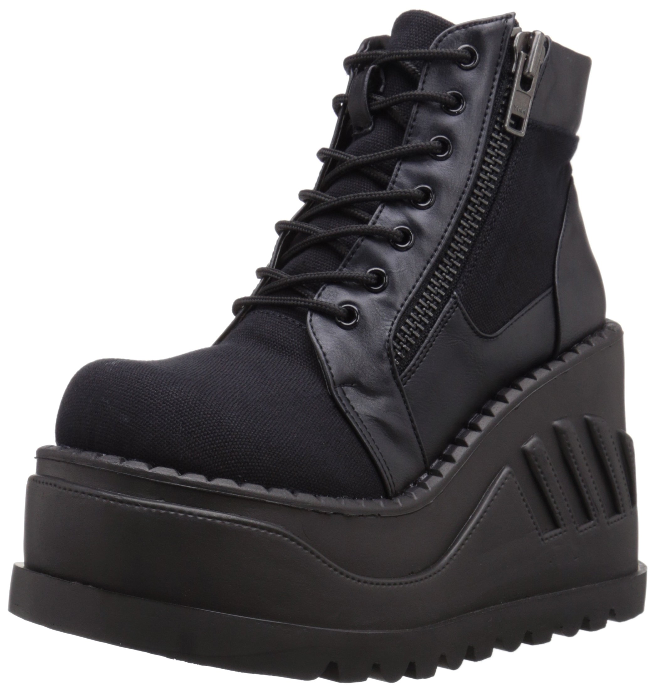 Demonia STO10/BCA-VL Women's Boot, Black Canvas Vegan Leather, 10 M US
