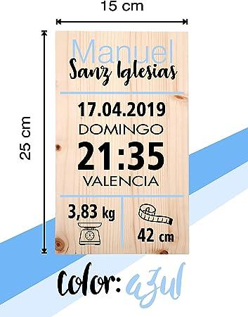 Cuadro de nacimiento personalizado en madera de pino. 3 colores: rosa, azul y verde. Recuerdo natalicio con los datos del bebe. Modelo: Ciudad (AZUL)