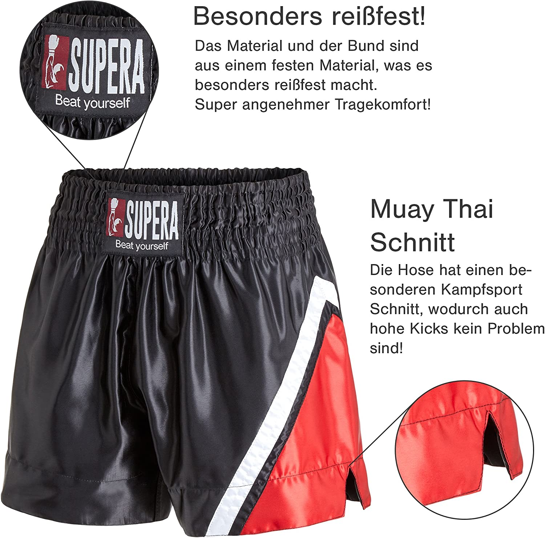 Perfekte Passform f/ür MMA Thaiboxen und Grappling! Kickboxen BJJ Supera Muay Thai Short Performance Thaiboxhose f/ür Training und Wettkampf Kickboxhose mit elastischem Bund und weitem Schnitt