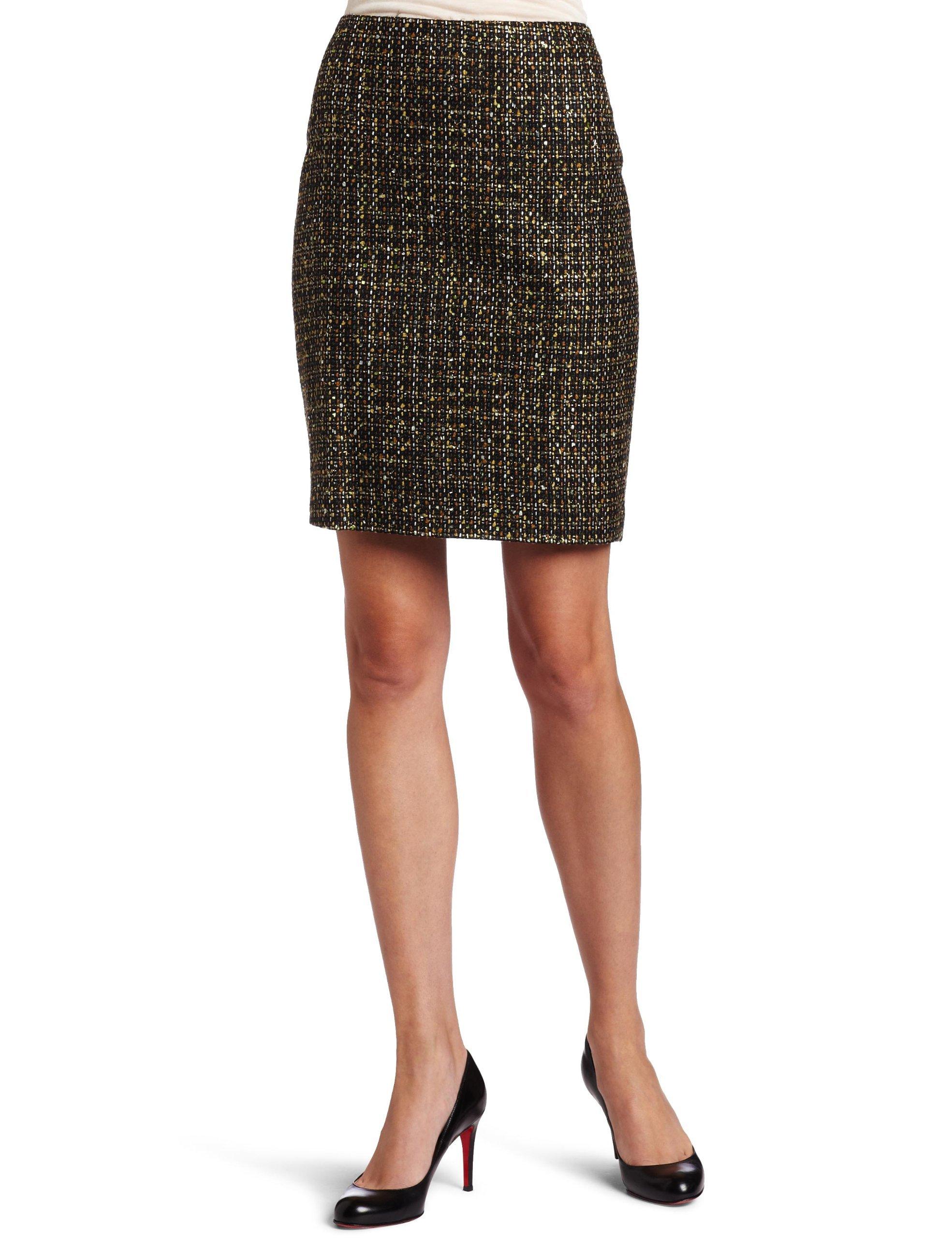 Chaus Women's Fine Lurex Tweed Skirt, Pine Forest, 12