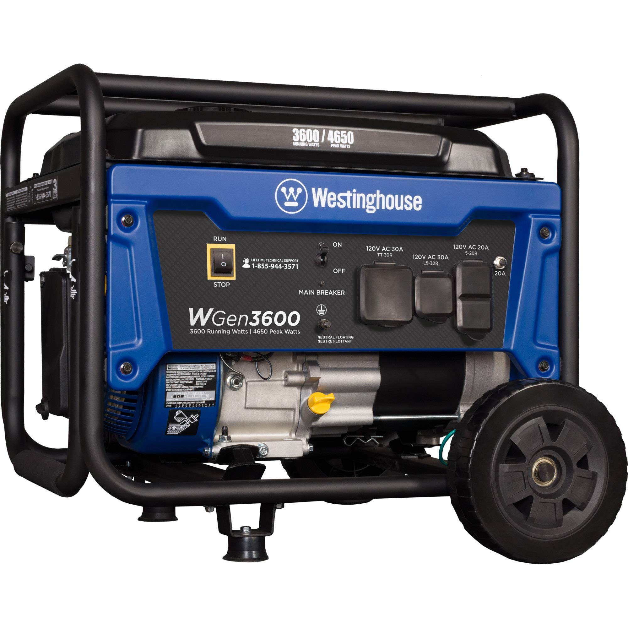 Westinghouse WGen3600 Portable Generator - 3600 Rated Watts & 4650 Peak Watts - RV Ready - Gas Powered - CARB Compliant by Westinghouse