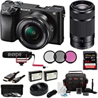 Sony Alpha a6300 Digital Camera with SELP1650 16-50mm and SEL55210B 55-210 Zoom Lenses & Rode Video Mic GO Bundle