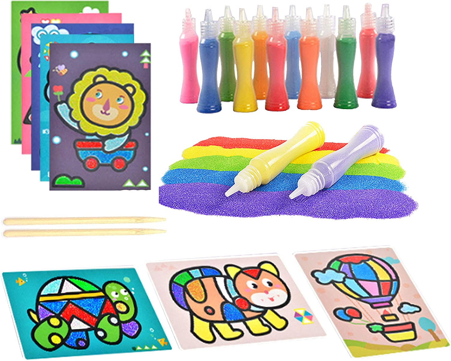Yesier 12 Colored Sand Art Kit Scenic Sand with 24 Sheets Sand Art Painting Cards and 2Pcs Scratch Sticks for Kids Arts and Crafts