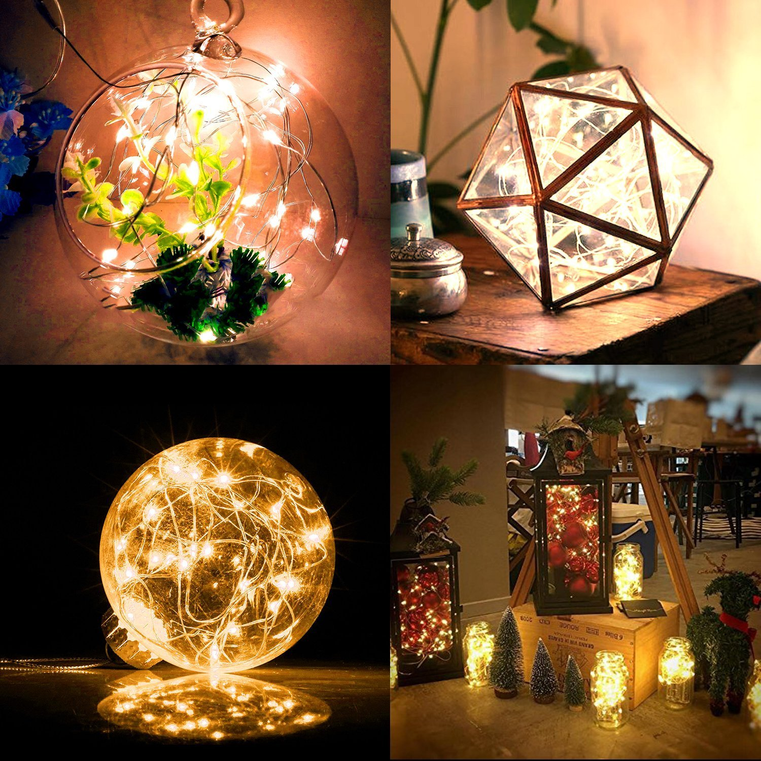 LENPOW 2 Pack Led Starry Fairy String Lights Super Bright Firefly Rope Lamp Twinkle Lantern 16.4ft 50 Led Waterproof 8 Modes Remote Control for Room Wedding Festival Decor Battery Operated Cool White