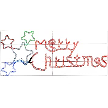 werchristmas animated merry christmas sign with flashing stars rope light silhouette christmas decoration 124 cm