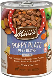 Merrick Grain Free Wet Dog Food Puppy Plate Beef - (12) 12.7 oz Cans