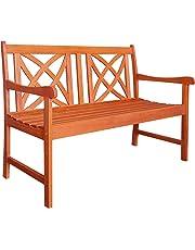 Vifah V1493 Outdoor Wood Garden Bench, 48.00 x 24.00 x 34.00/4', Brown