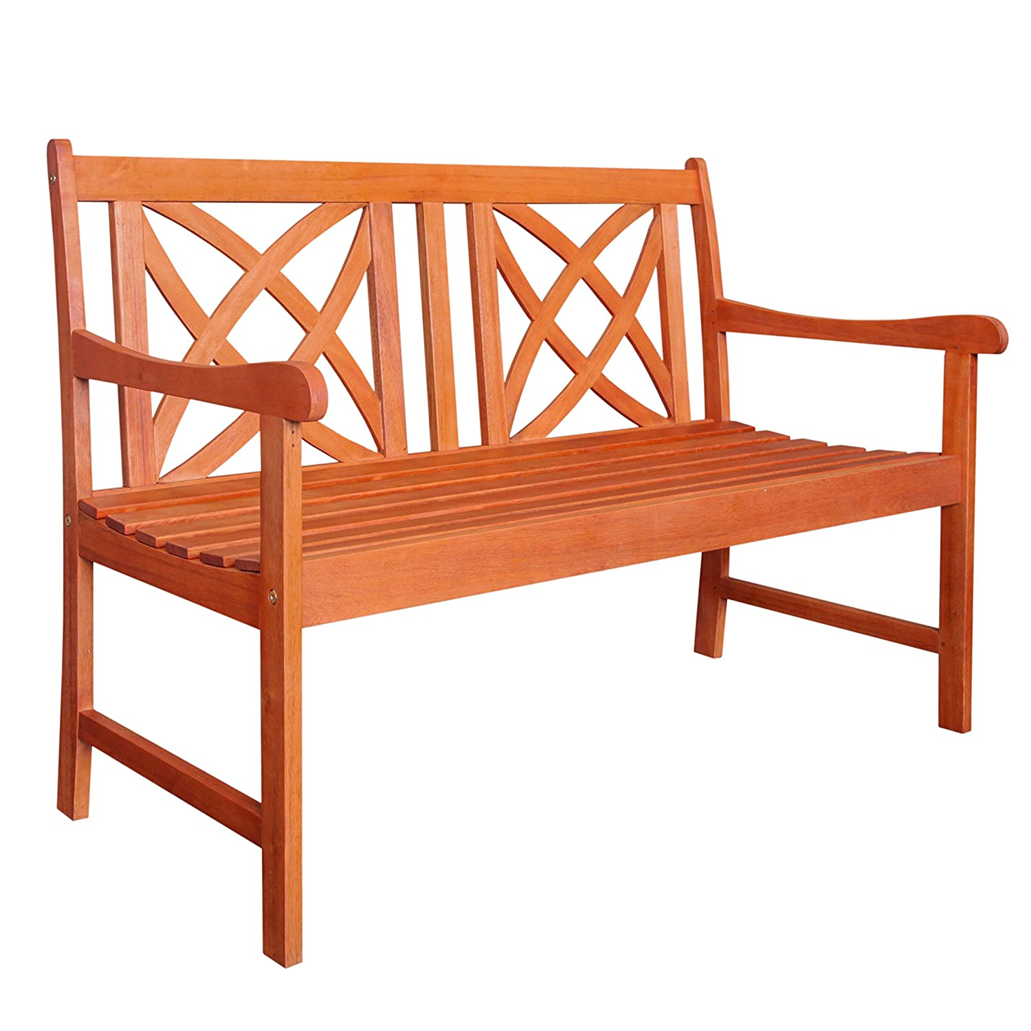 Vifah V1493 Outdoor Wood Garden Bench, 48.00 x 24.00 x 34.00/4', Brown