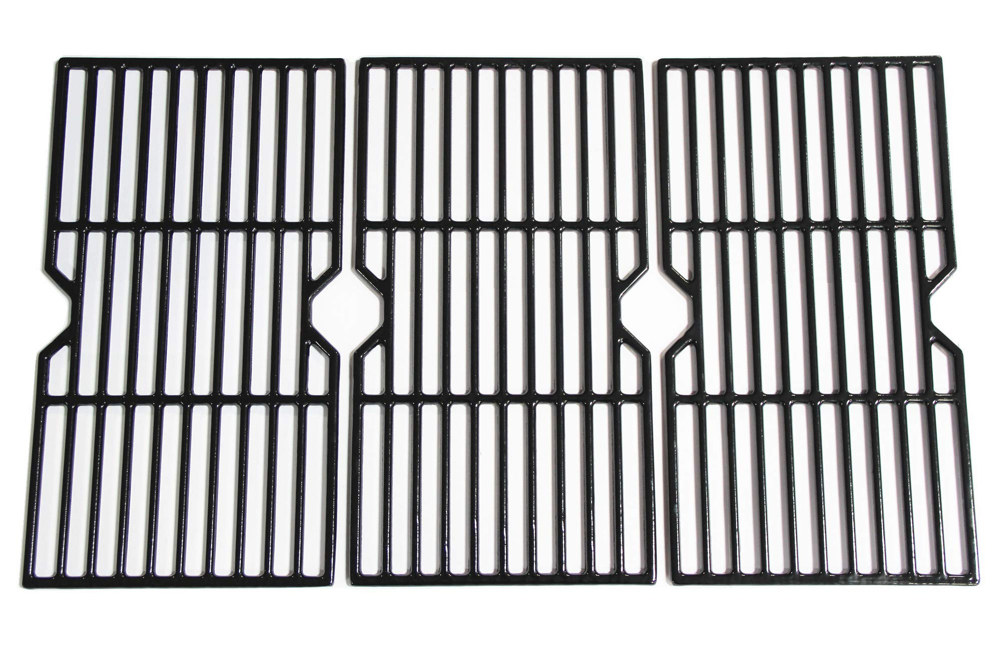 Mr. KAN Grill Grid Grates Replacement for Charbroil, Master Chef, Backyard Grill, Kenmore Sears Gas Grills, Set of 3-Piece Porcelain Coated Cast Iron Cooking Grids by Mr. KAN