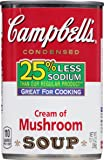 Campbell's 25% Less Sodium Condensed Soup, Cream of Mushroom, 10.5 Ounce (Pack of 12)