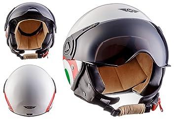 Moto Helmets H44 - Helmet Casco de Moto , Blanco/Italia, S (55
