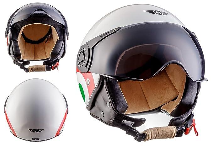 53 MOTO U52 Matt White /· Demi-Jet Vespa Pilot Moto Biker Retro Helmet Cruiser Vintage Chopper Bobber Mofa Scooter Casque Jet /· ECE certifi/és /· visi/ère inclus /· y compris le sac de casque /· Blanc /· XS