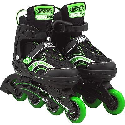 Best Sporting Rollers, ajustable avec roulements ABEC 5carbone, Inliner pour les enfants et les jeunes jusqu'à la taille 40dans les couleurs bleu ou rose