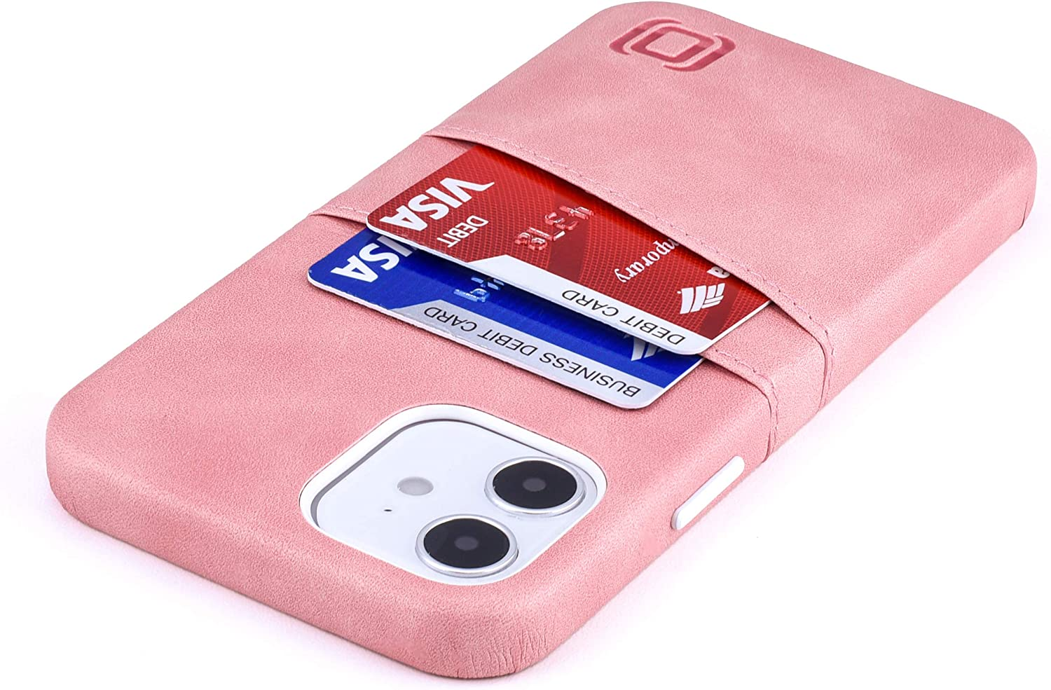 """Dockem iPhone 12 & iPhone 12 Pro Wallet Case: Built-in Metal Plate for Magnetic Mounting & 2 Credit Card Holders (6.1"""" Exec M2, Smooth Synthetic Leather, Pink)"""