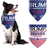 ADOGGYGO Trump 2020 American Flag Dog Bandana 4th of July Dog Bandana for Small Medium Large Dogs Cats Pets 2 Pack…