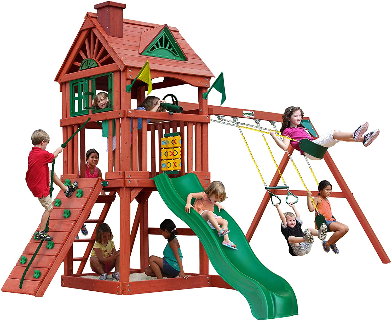 Gorilla Playsets 01-0021 Nantucket II Wood Swing Set with Wood Roof, Two Swings, Slide, Sandbox Area, Rock Wall, Redwood