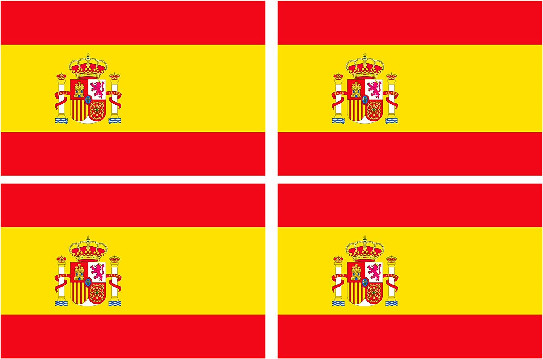 Supstick – Lote de 4 pegatinas autoadhesivas de la bandera de España, formato 12 x 8 cm: Amazon.es: Coche y moto