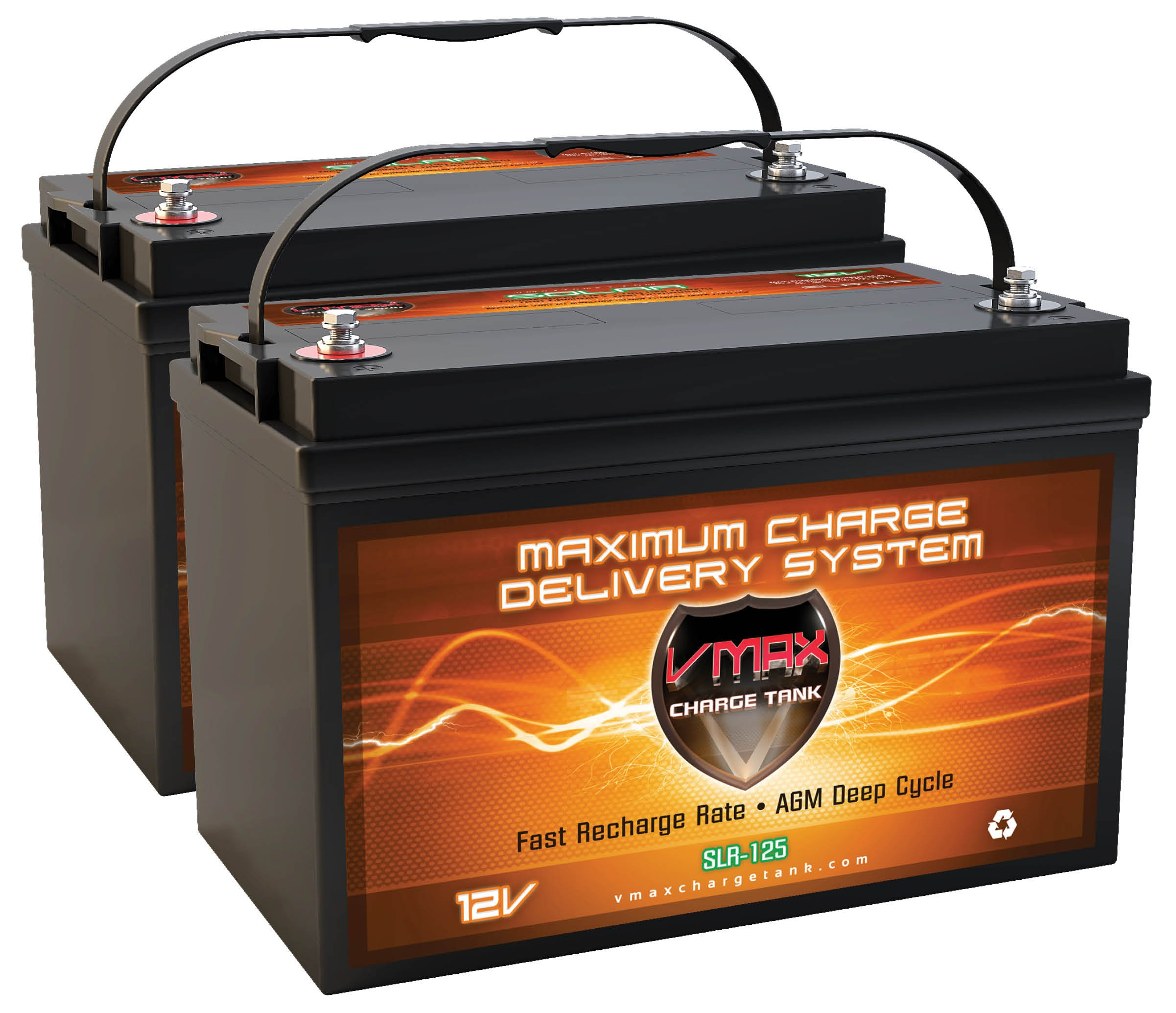 VMAXSLR125-2 QTY 2 VMAX SLR125 AGM Sealed Deep Cycle 12V 125Ah (250Ah total) batteries for Use with Pv Solar Panels,Smart chargers wind Turbine and Inverters by VMAX Solar