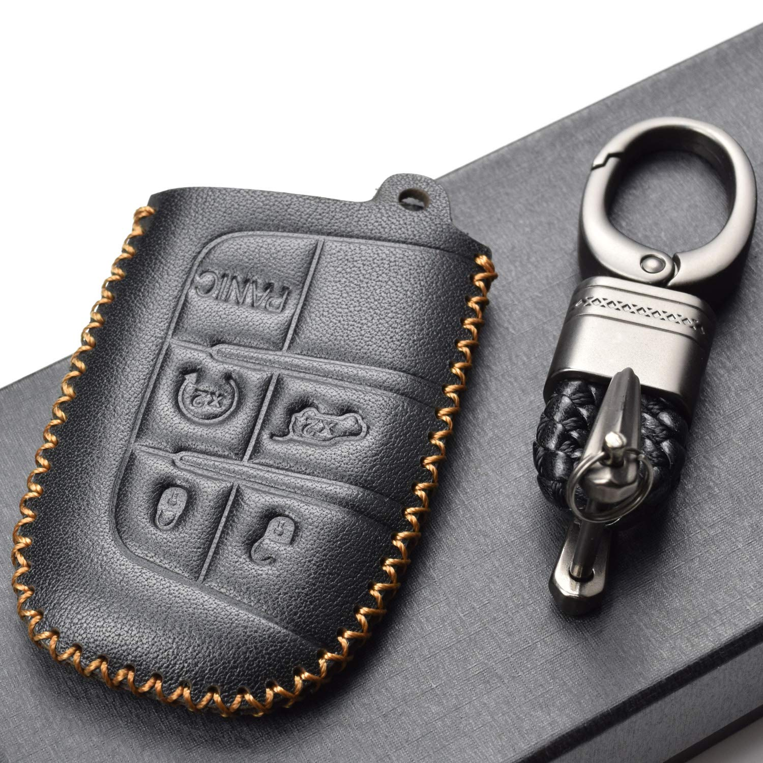 5 Buttons, Black//Red Dodge Vitodeco Inc Chrysler Vitodeco Genuine Leather Smart Key Keyless Remote Entry Fob Case Cover with Key Chain for JEEP