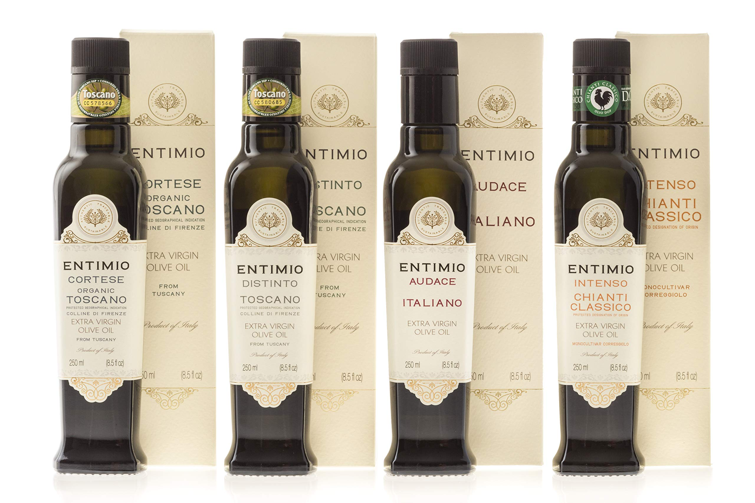 Entimio Collection Gift Box | Tuscany Olive Oil Extra Virgin, from Medium-Delicate to -Robust | 2018 Harvest, 2019 Gold Winners, Italy, High Antioxidants | 33.8 fl oz (Pack of 4 x 8.5 fl oz)