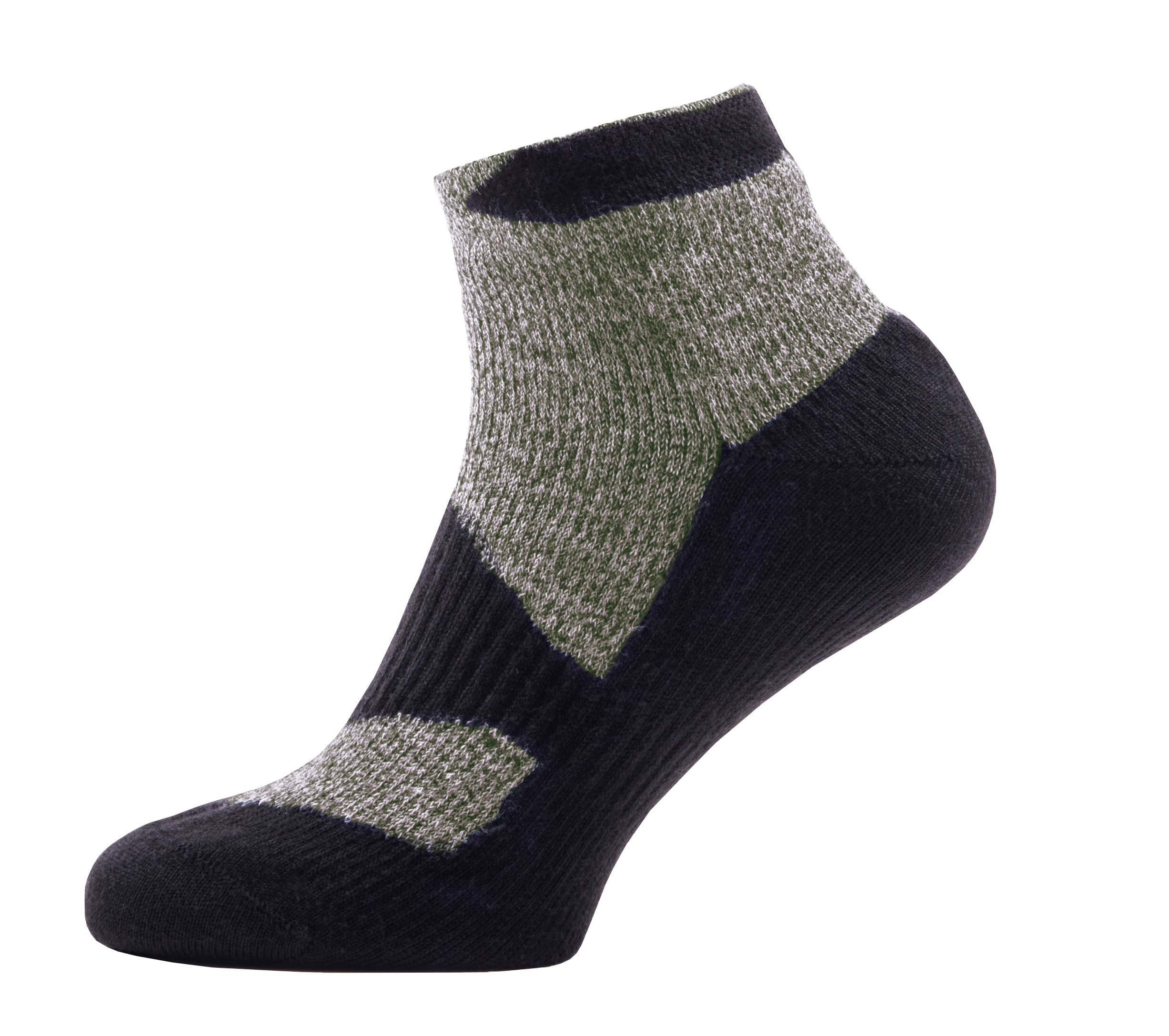 SealSkinz Walking Thin Socklet, Small - Olive Marl/Charcoal. With a Helicase brand sock ring