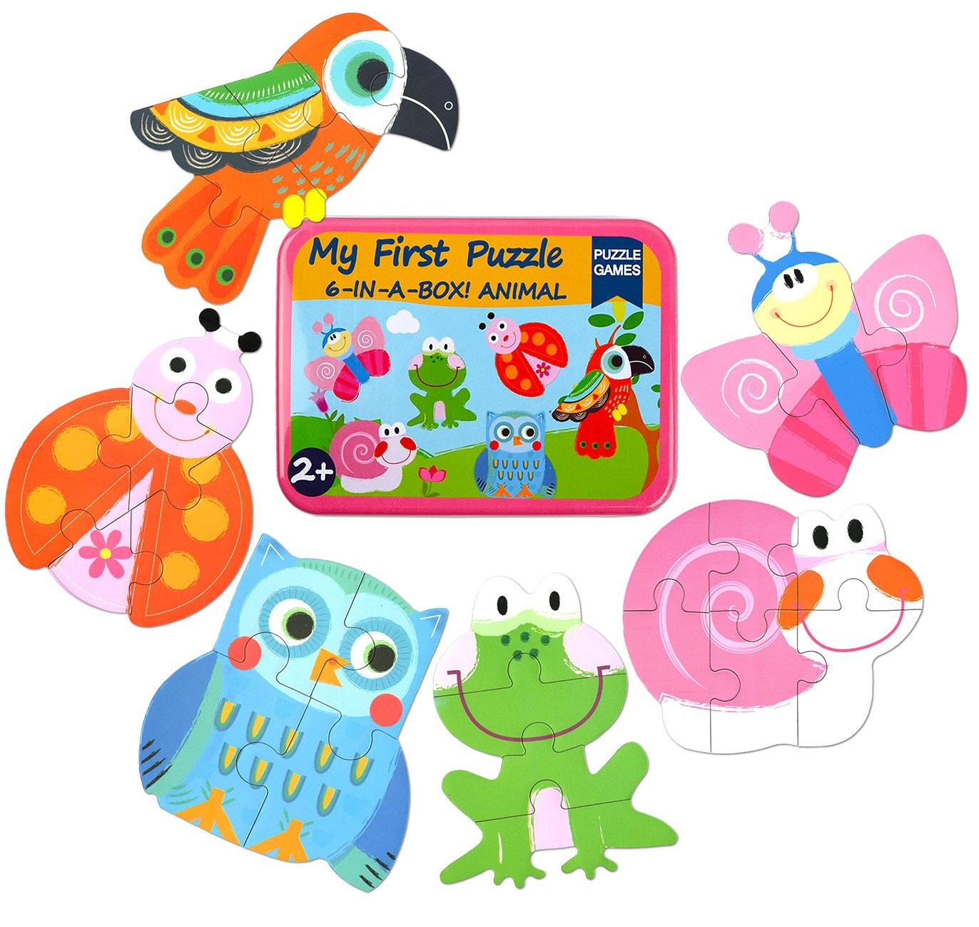 Vileafy Simple Floor Puzzles for Toddlers, 6-in-1 Beginners Jigsaw Puzzles