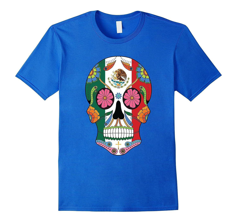 fc40b4a1 Mexican Flag Sugar Skull T-Shirt Halloween Day Of The Dead-FL ...