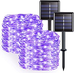 JMEXSUSS 2 Pack Purple Solar String Lights Outdoor Waterproof, 33ft 100 LED Solar Christmas Lights, 8 Modes Silver Wire Twinkle Solar Fairy Lights for Xmas, Patio, Yard, Tree, Garden, Wedding, Party