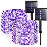 JMEXSUSS Purple Halloween String Lights, Solar String Lights Outdoor Waterproof, 2 Pack 32.8ft 100 LED Solar Fairy…