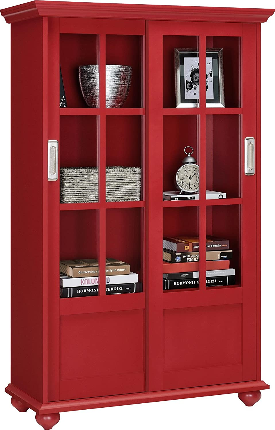 Amazon.com: Altra Aaron Lane Bookcase With Sliding Glass Doors, Red:  Kitchen U0026 Dining