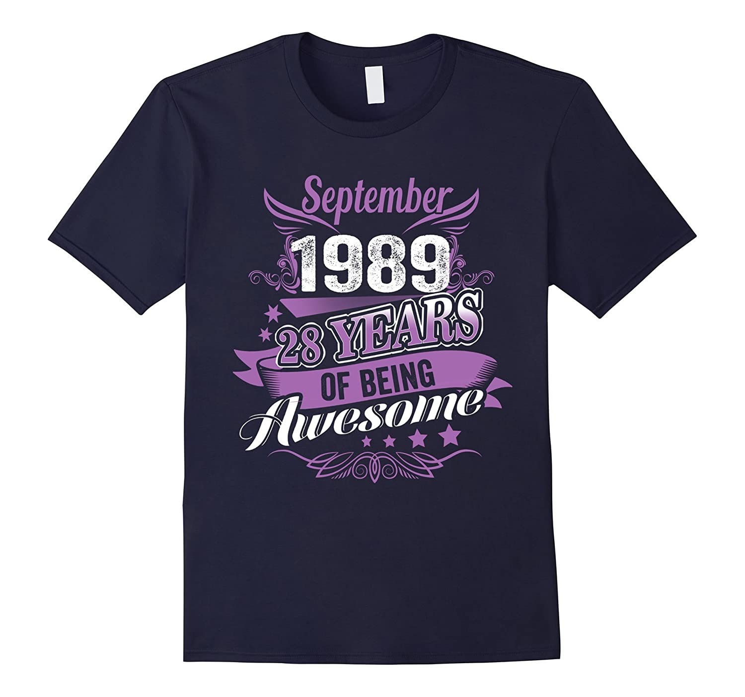 September 1989 - 28 Years of Being Awesome Vintage T Shirt-Vaci