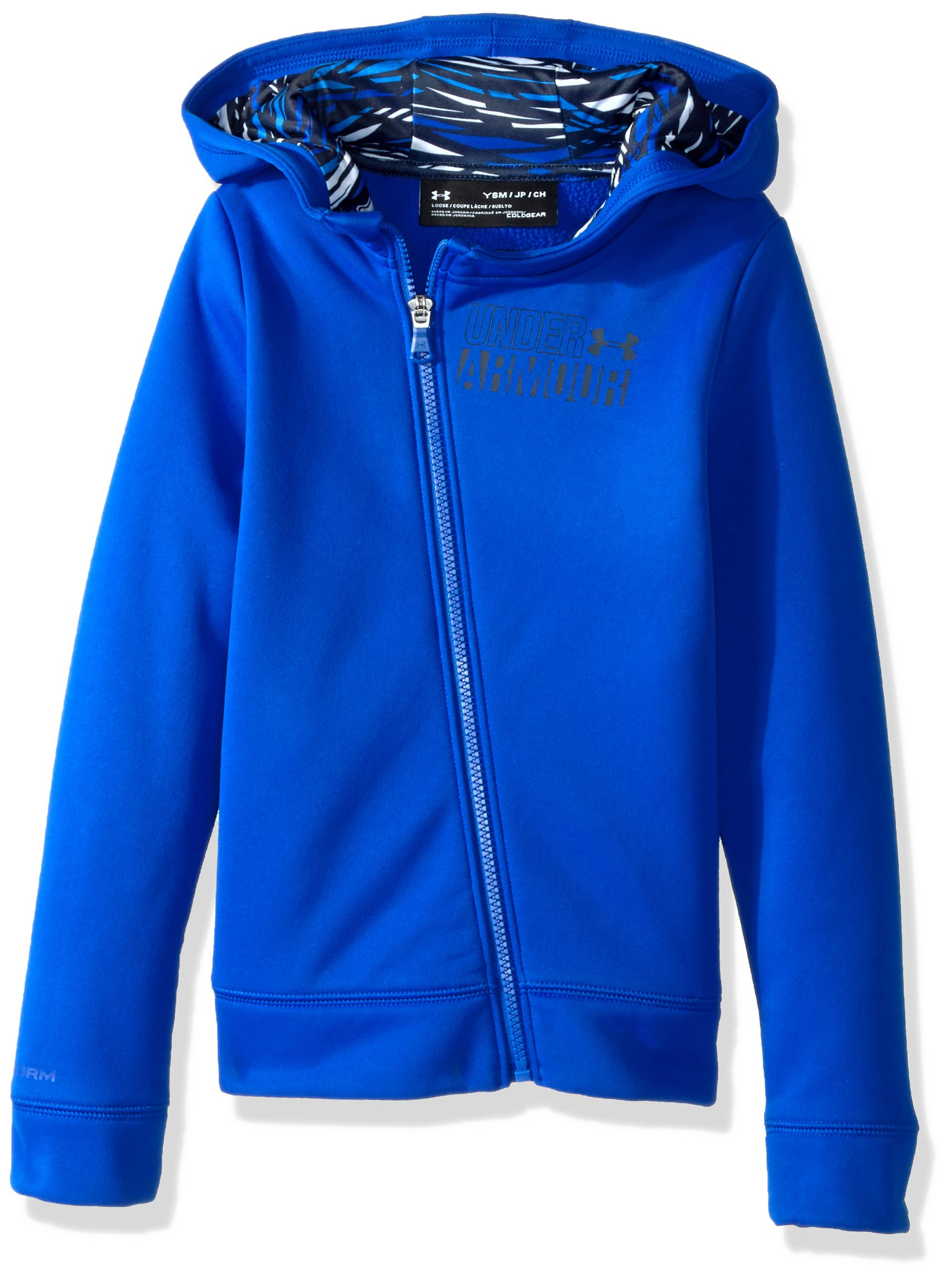 Under Armour Girls' Armour Fleece Full Zip Hoodie,Lapis Blue (984)/Mako Blue, Youth X-Small by Under Armour