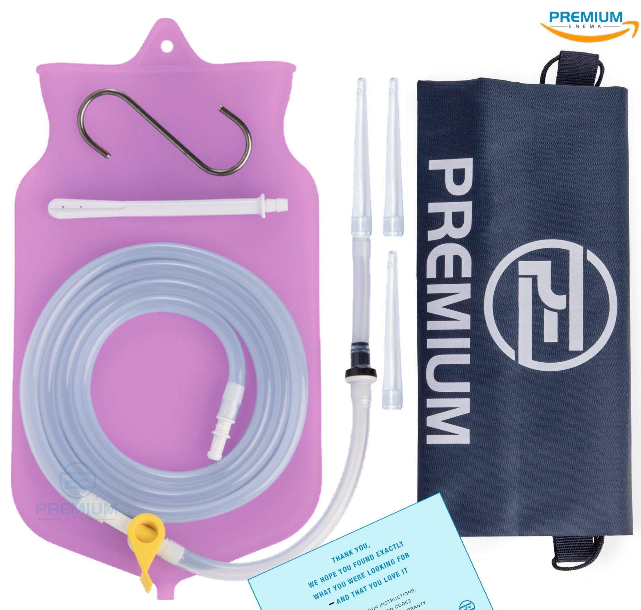 Premium Enema Silicone Enema Bag Kit. Non-Toxic. BPA and Phthalates Free. Suitable for Home, Water & Coffee Colon Cleansing. 2 Quart Bag (Purple)