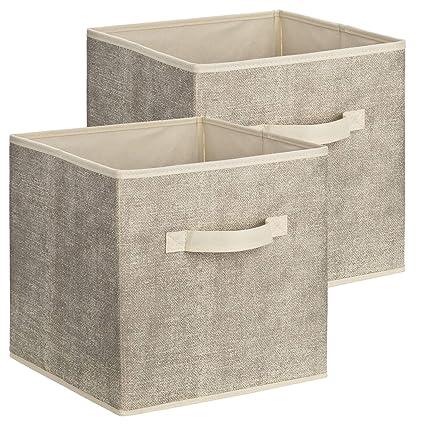 Conjunto de 2 cajas de almacenamiento cuadradas de tela de 1PLUS, caja universal de 30