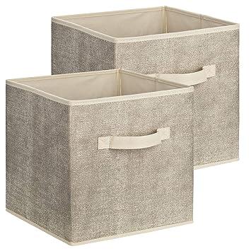 2er Set Quadratische Aufbewahrungsbox Aus Stoff 30 X 30 X 30 Cm