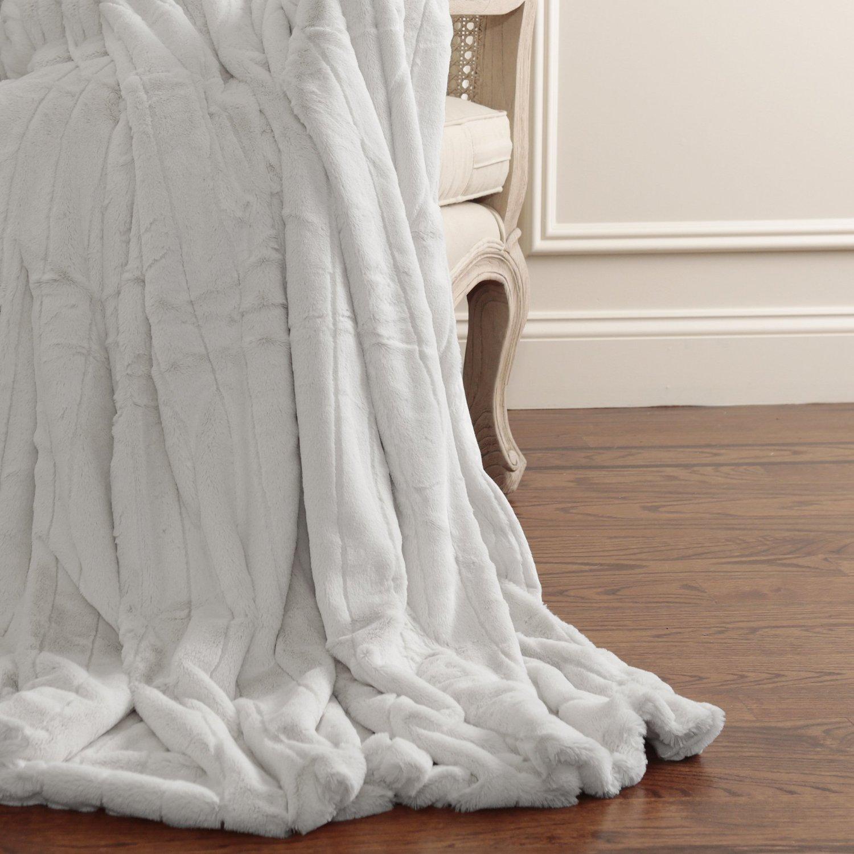 Best Home Fashion Luxe Mink Faux Fur Throw - Full Blanket - Grey - 58''W X 84''L - (1 Throw)