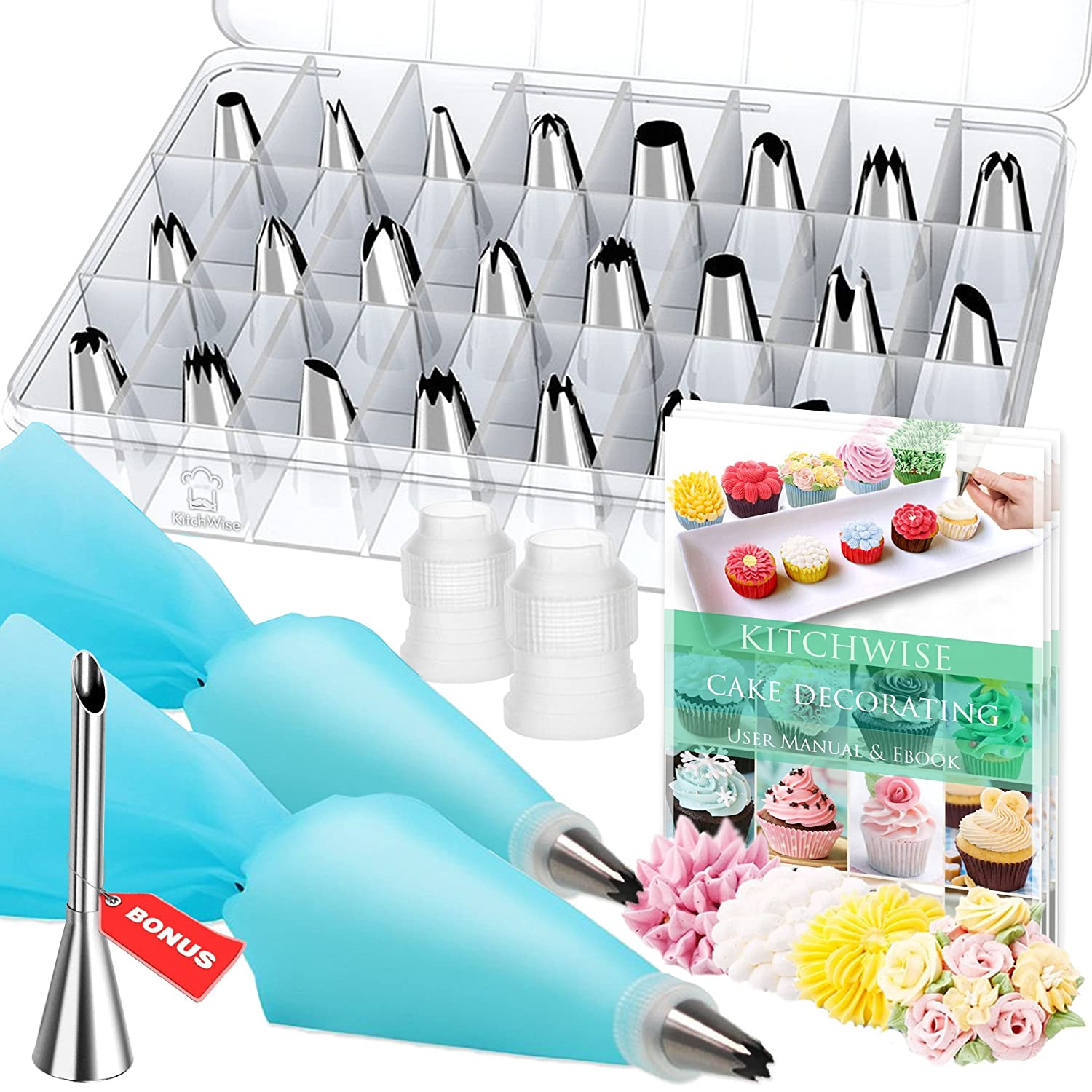Cake Decorating Supplies Kit Tips 30 Pieces, 24 Stainless Steel Icing Tip set, 2 Reusable Coupler and 2 Silicone Pastry Bags Kitchwise