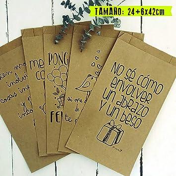 449b63cbb 25 bolsas con fuelle lateral (24x42 cm) papel kraft. Bolsa regalo con  mensajes
