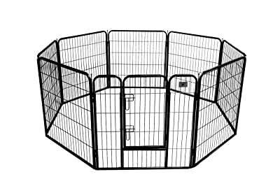 BestPet Heavy Duty Pet Playpen Dog Exercise Pen Cat Fence B, 32-Inch, Black