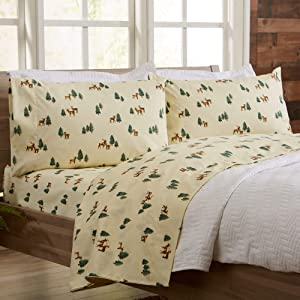 Great Bay Home 4-Piece Lodge Printed Ultra-Soft Microfiber Sheet Set. Beautiful Patterns Drawn from Nature, Comfortable, All-Season Bed Sheets. (Queen, Deer)