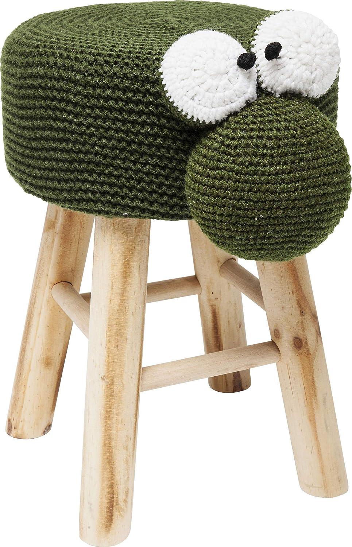 Kare Hocker Funny Frog, Kleiner runder Sitzhocker, Bezug mit aufgenähten Augen, süßer Schemel (HxBxT) 35 x 40 x 27 cm, 100% Polyester, Grün, Braun