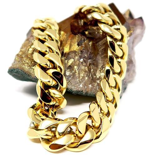 b72d2d3c91d9a Gold Cuban Link Chain Necklace for Men Real 16MM 18K Karat Hip HOP Chocker  Diamond Cut Heavy w Solid Thick Clasp US Made