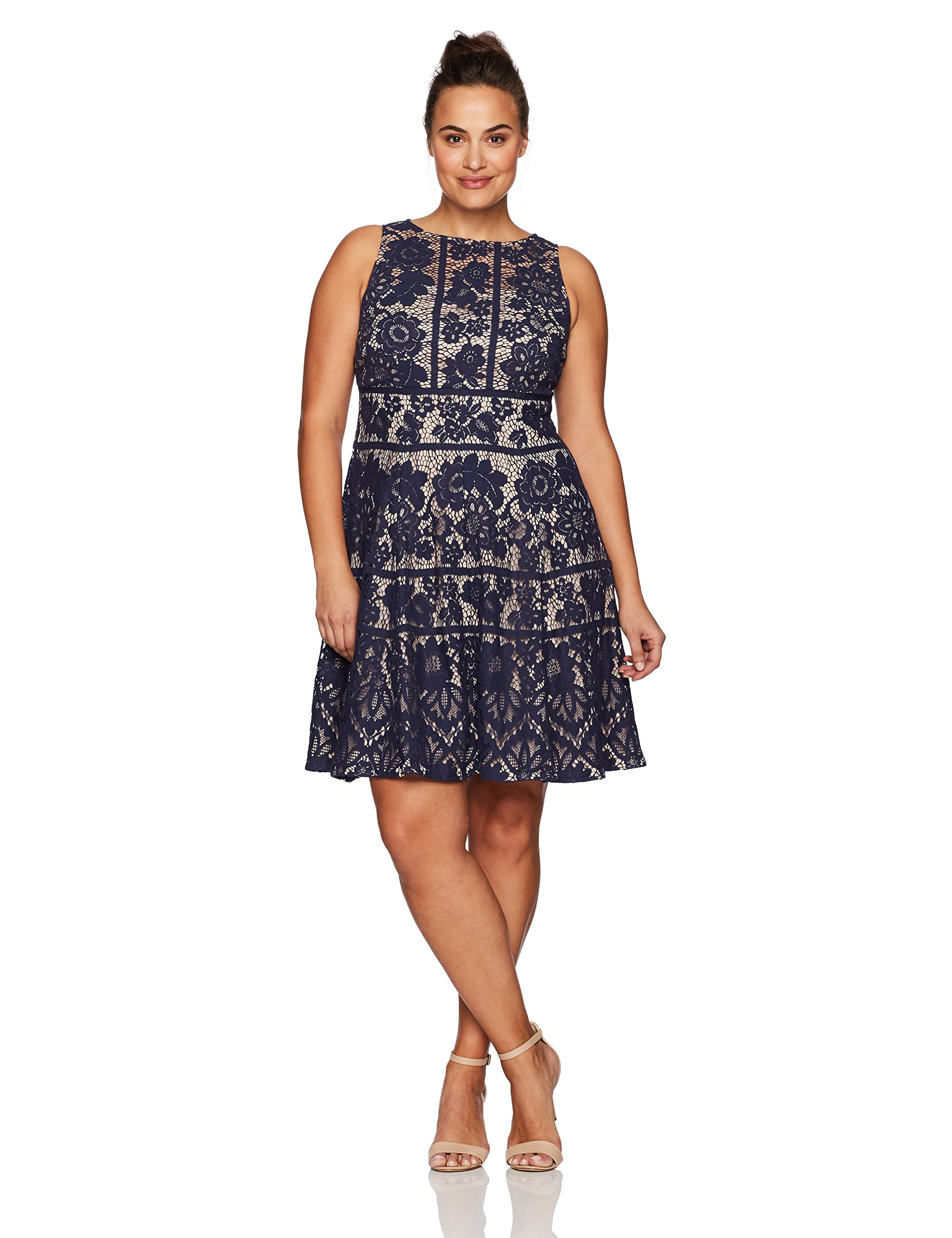 London Times Women's Plus Size Flower Bloom Lace Fit and Flare Dress, Navy, 18W