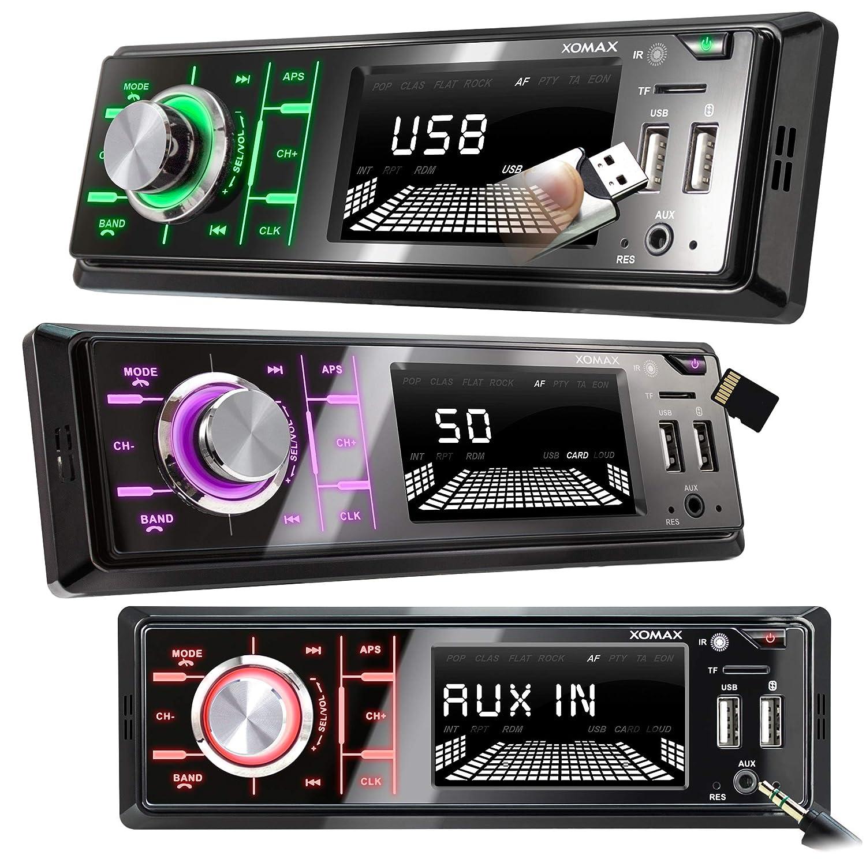 FM I 7 Couleurs d/éclairage I 2X USB SD AUX I 1 DIN XOMAX XM-R268 Autoradio avec Bluetooth I Recharge du t/él/éphone Portable Via 2e Port USB I Tuner Radio RDS