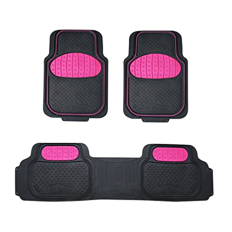Suv Floor Mats >> Fh Group F11500 Touchdown Floor Mats Full Set Rubber Floor Mats Pink Black Color Fit Most Car Truck Suv Or Van