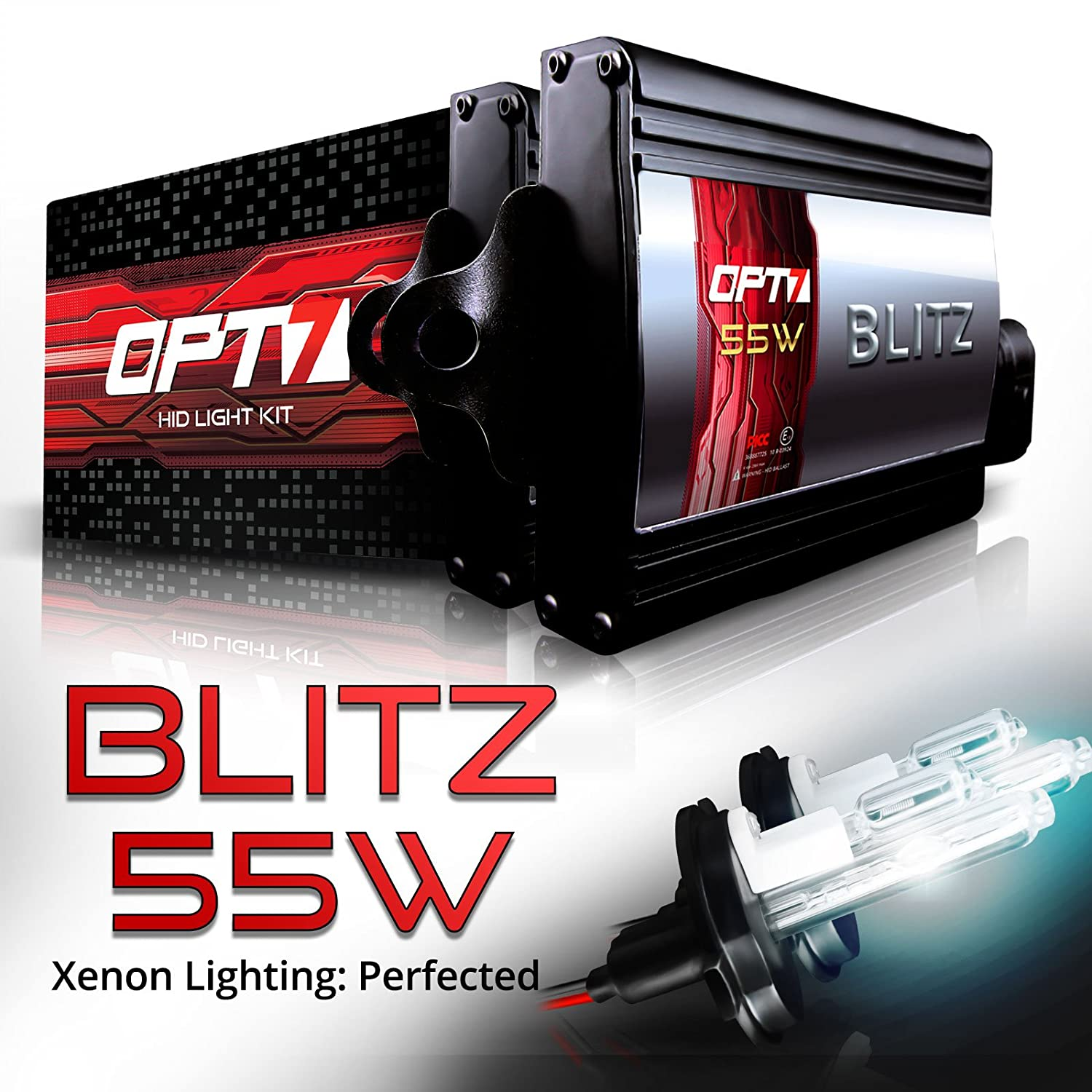 5000K Bright White Xenon Light OPT7 BLTZ 55W H4 9003 Hi-Lo HID Kit 2 Yr Warranty All Bulb Sizes and Colors 4X Longer Life 3X Brighter