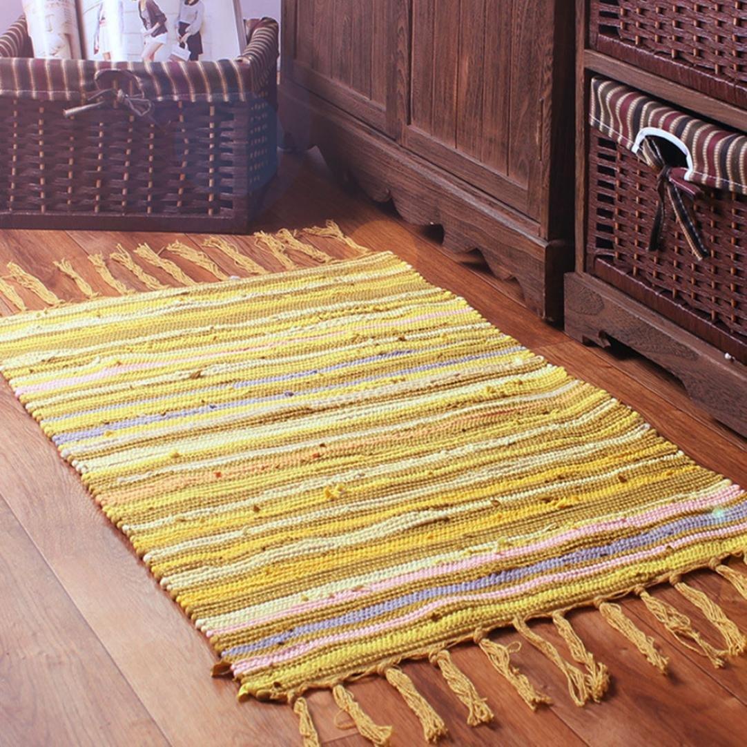 Molyveva Fashion Area Rugs Mediterranean Style Cotton Kitchen Oblong Shape Multi-Usage,50x80cm