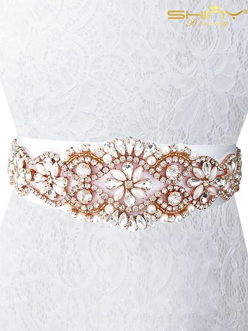 ShinyBeauty strass applique strass Trim oro strass applique grande  matrimonio fascia per le donne, Rose 7381809946b