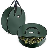 "ZOBER Christmas Wreath Storage Bag - Premium 420D Oxford Tear Resistant Fabric Bag Artificial Christmas Wreaths Zipper 36"" x 36"" x 8"""